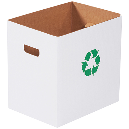 Corrugated Trash Cans with Recycle Logo - 7 Gallon