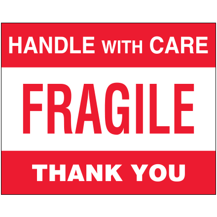 "8 x 10"" - ""Fragile - Handle With Care"" Labels"