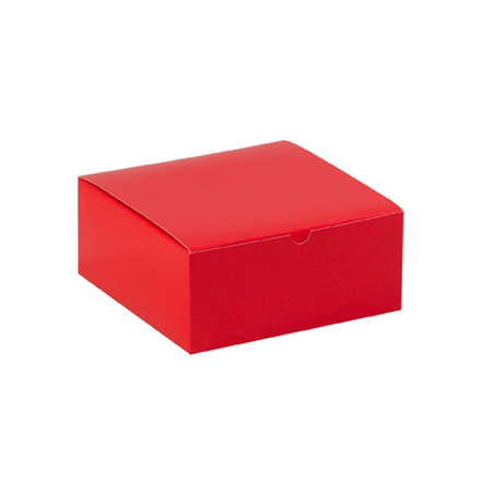 "8 x 8 x 3 <span class='fraction'>1/2</span>"" Holiday Red Gift Boxes"